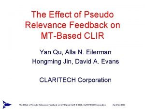 The Effect of Pseudo Relevance Feedback on MTBased