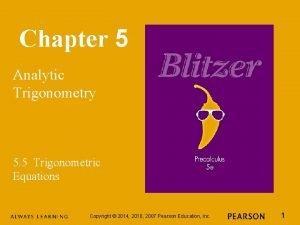 Chapter 5 Analytic Trigonometry 5 5 Trigonometric Equations