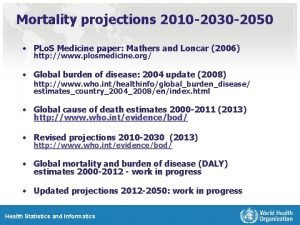 Mortality projections 2010 2030 2050 PLo S Medicine