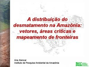 A distribuio do desmatamento na Amaznia vetores reas