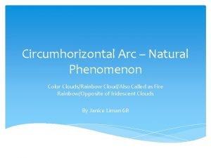 Circumhorizontal Arc Natural Phenomenon Color CloudsRainbow CloudAlso Called