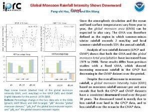 Global Monsoon Rainfall Intensity Shows Downward Trend Pangchi