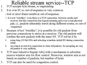 1 2 Reliable stream serviceTCP accepts byte stream