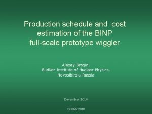 Production schedule and cost estimation of the BINP