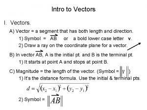 Intro to Vectors I Vectors A Vector a