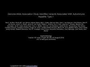 GenomeWide Association Study Identifies Variants Associated With Autoimmune