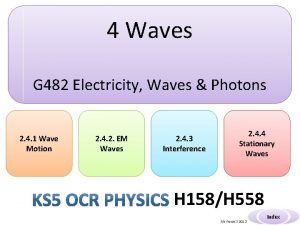 4 Waves G 482 Electricity Waves Photons 2