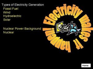 Types of Electricity Generation Fossil Fuel Wind Hydroelectric