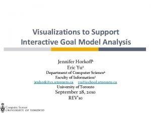 Visualizations to Support Interactive Goal Model Analysis Jennifer