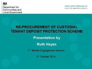 REPROCUREMENT OF CUSTODIAL TENANT DEPOSIT PROTECTION SCHEME Presentation