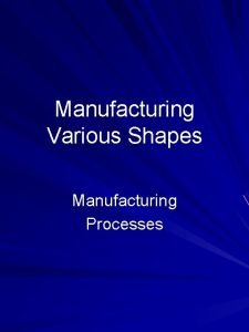Manufacturing Various Shapes Manufacturing Processes Outline Milling Slab