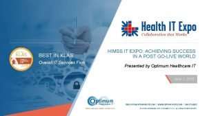 BEST IN KLAS Overall IT Services Firm HIMSS