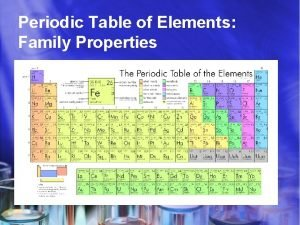 Periodic Table of Elements Family Properties Elements Science