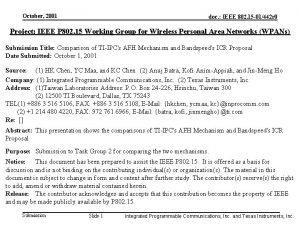 October 2001 doc IEEE 802 15 01442 r