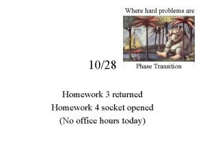 Where hard problems are 1028 Phase Transition Homework