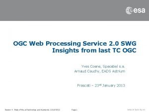 OGC Web Processing Service 2 0 SWG Insights