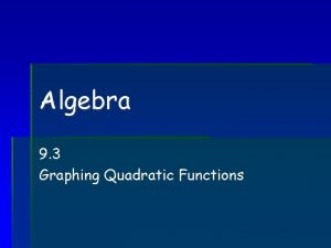 Algebra 9 3 Graphing Quadratic Functions CLASSIFYING EQUATIONS