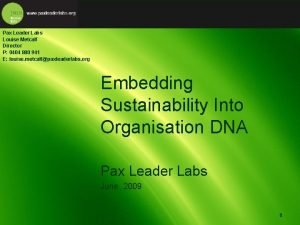 Pax Leader Labs Louise Metcalf Director P 0404