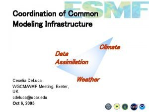 Coordination of Common Modeling Infrastructure Data Assimilation Cecelia