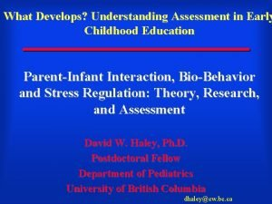 What Develops Understanding Assessment in Early Childhood Education