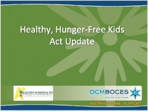 Healthy HungerFree Kids Act Update Smart Snacks in