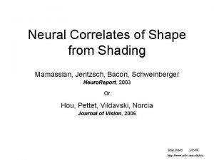 Neural Correlates of Shape from Shading Mamassian Jentzsch