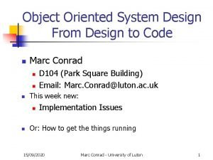 Object Oriented System Design From Design to Code
