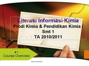 Literasi Informasi Kimia Prodi Kimia Pendidikan Kimia Smt