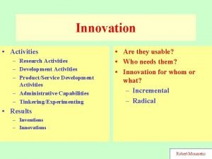 Innovation Activities Research Activities Development Activities ProductService Development