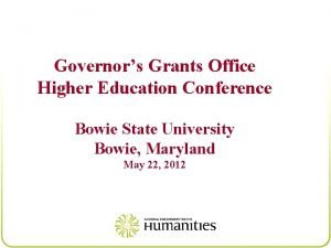Governors Grants Office Higher Education Conference Bowie State