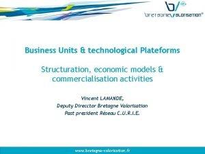 Business Units technological Plateforms Structuration economic models commercialisation