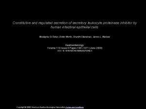 Constitutive and regulated secretion of secretory leukocyte proteinase