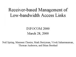 Receiverbased Management of Lowbandwidth Access Links INFOCOM 2000