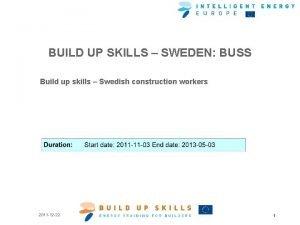 BUILD UP SKILLS SWEDEN BUSS Build up skills
