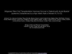 Allogeneic Stem Cell Transplantation Improves Survival in Patients