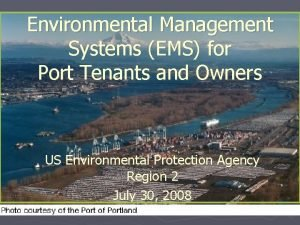 Environmental Management Systems EMS for Port Tenants and