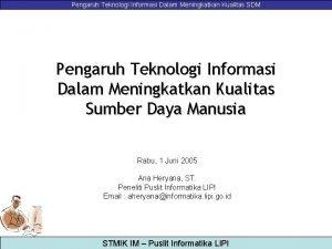 Pengaruh Teknologi Informasi Dalam Meningkatkan Kualitas SDM Pengaruh