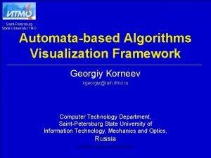 SaintPetersburg State University ITMO Automatabased Algorithms Visualization Framework