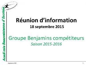 Acadmie Beauvaisienne dEscrime Runion dinformation 18 septembre 2015