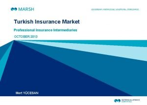 Turkish Insurance Market Professional Insurance Intermediaries OCTOBER 2013