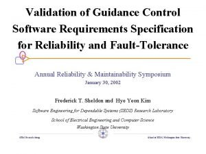 Validation of Guidance Control Software Requirements Specification for