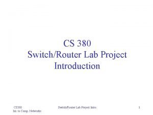 CS 380 SwitchRouter Lab Project Introduction CS 380