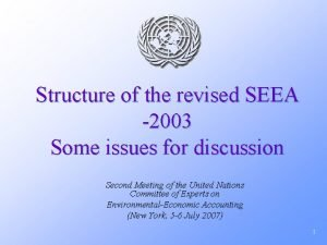 Structure of the revised SEEA 2003 Some issues