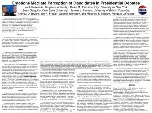 Emotions Mediate Perception of Candidates in Presidential Debates
