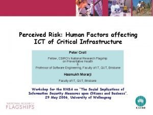 Perceived Risk Human Factors affecting ICT of Critical