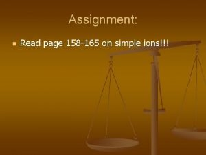 Assignment n Read page 158 165 on simple