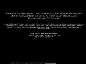 Management of Myelodysplastic Syndrome Relapsing after Allogeneic Hematopoietic