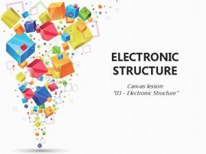 ELECTRONIC STRUCTURE Canvas lesson 03 Electronic Structure Todays