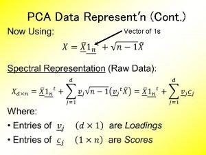 PCA Data Representn Cont Vector of 1 s