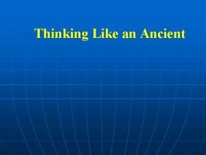 Thinking Like an Ancient Honor and Shame n